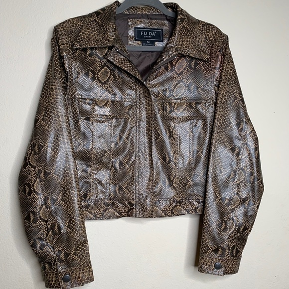 FU DA Jackets & Blazers - FU DA Faux Snake Skin Jacket Size M